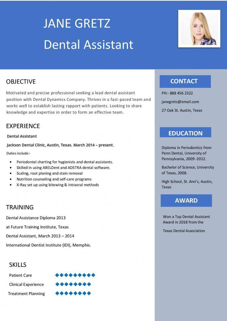 Resume for Dental Assistant /Hygienist. 1 page resume