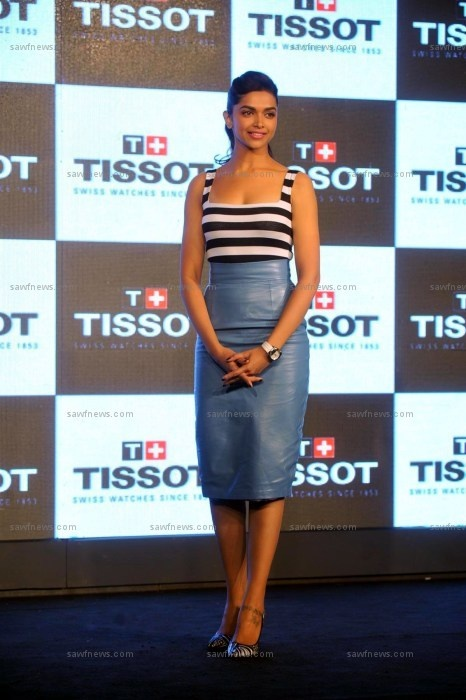 The 27-year-old Tissot brand ambassador unveiled a new Watch to mark 160 years of the watch brand.  Styled by Anaita Adajania of Style Cell, Deepika essayed three of the hottest style trends of Spring 2013 - stripes, black and white, and pointy toe shoes.