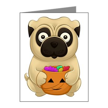 A Pug Halloween Note Cards (pk Of 10) from cafepress store: AG Painted Brush T-Shirts. #Halloween #pug #pumpkin #cards