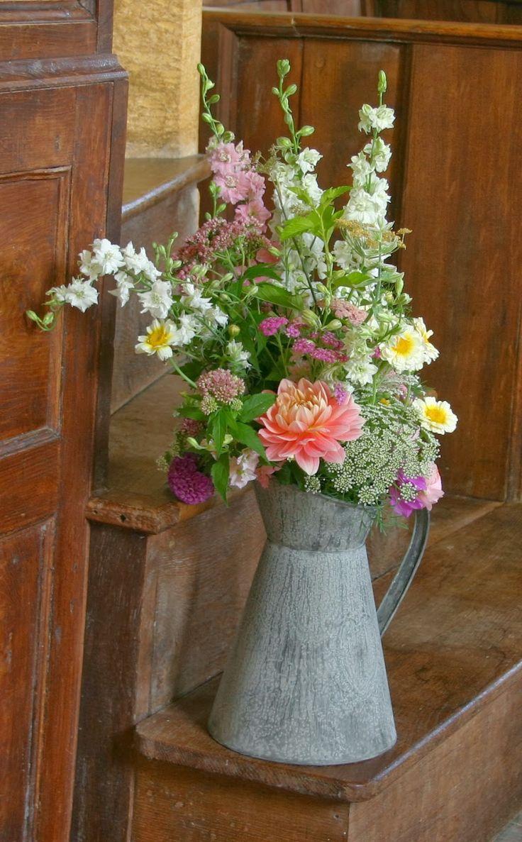 Vintage jug of flowers. Strictly seasonal British eco wedding flowers by Common Farm in Somerset.