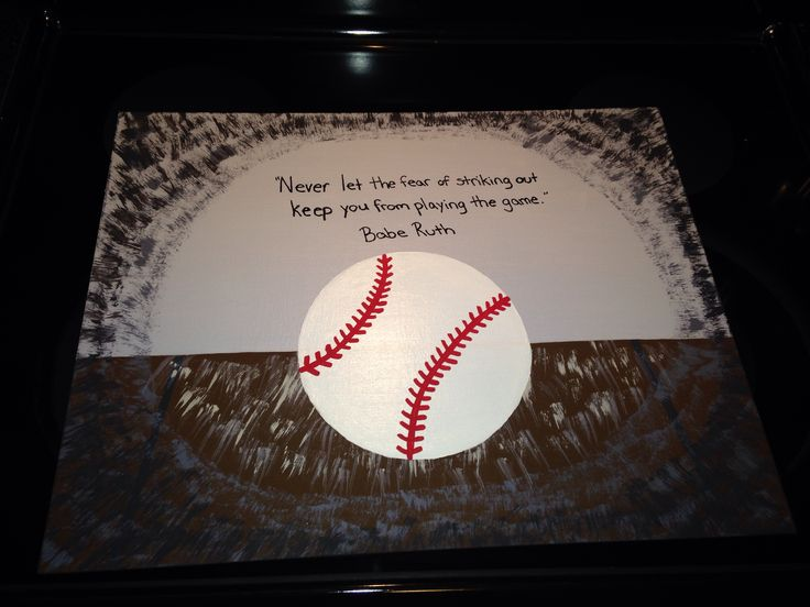 DIY Acrylic painting with Babe Ruth quote