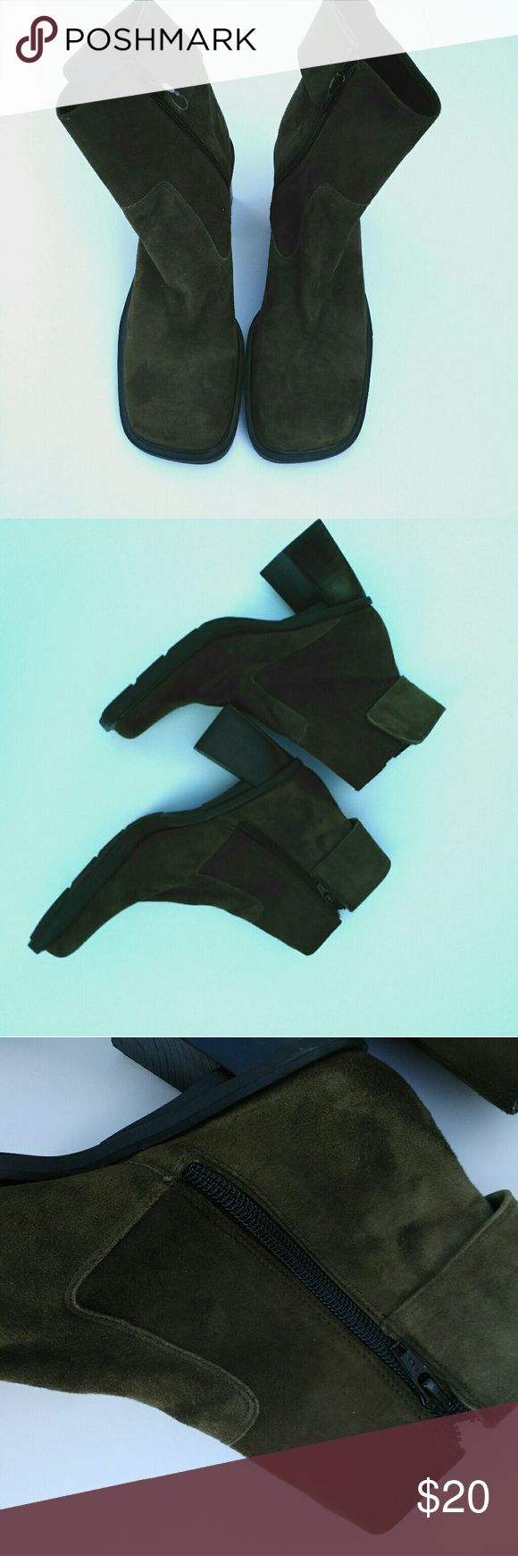 Nine West women's booties Great condition. Dark olive green Nine West booties, inner zipper closure and velcro closure on the outside. Nine West Shoes Ankle Boots & Booties