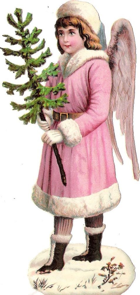 Oblaten Glanzbild scrap die cut chromo Winter Engel 15cm angel XMAS Schnee snow: