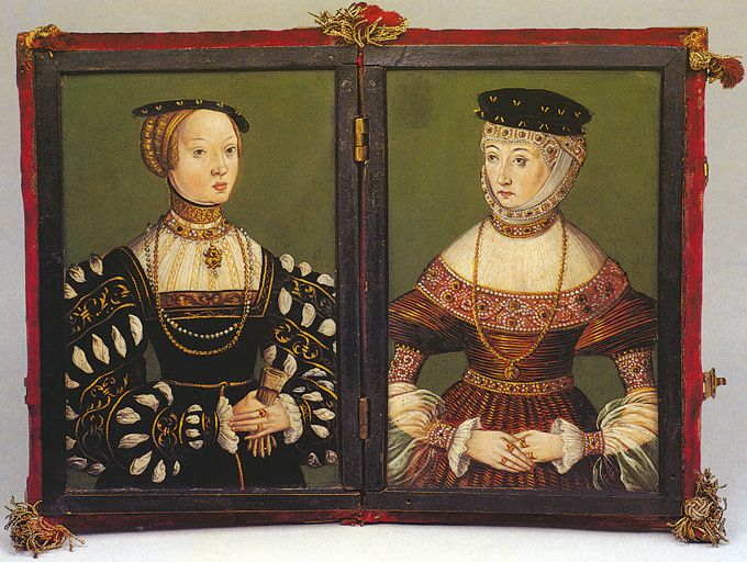 A double portrait of two of Sigismund Augustus' wives, Elisabeth Habsburg and Barbara Radziwiłł, circa 1543–1551. Permission to make this copy was granted to the Palace of the Grand Dukes of Lithuania by the Krakow National Museum (Muzeum Narodowe w Krakowie)