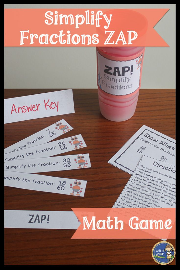 Simplify Fractions ZAP - Engaging math game for your students. Great for math stations or centers. Students will beg you to play again and again. Click to check it out! $ gr 4-7                                                                                                                                                                                 More
