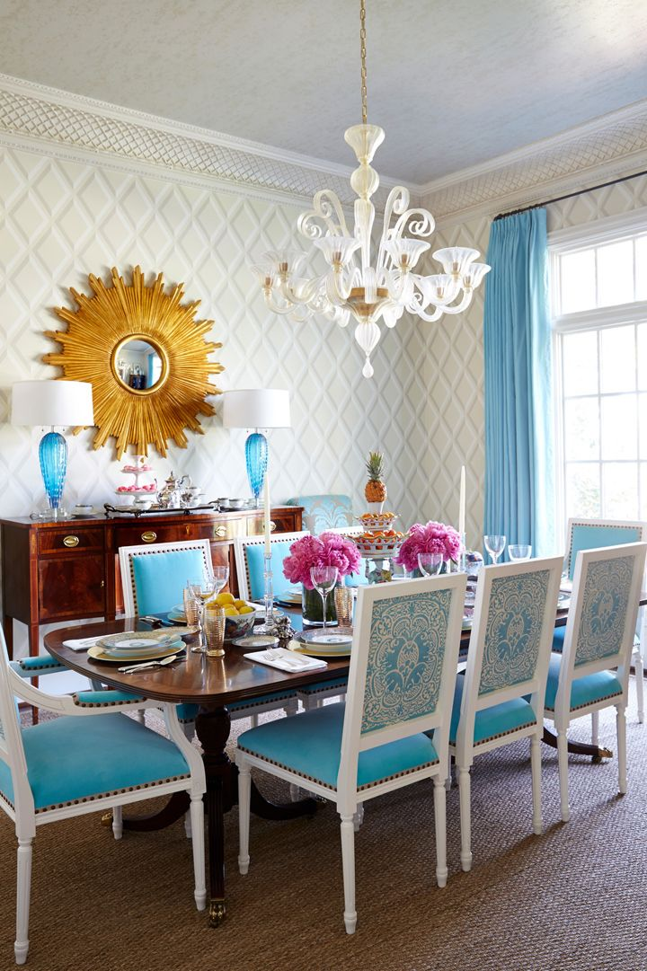 Coastal Inspired Dining Room With A Touch Of Turquoise