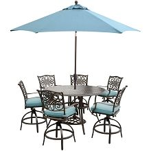Traditions 7PC High-Dining Bar Set in Blue with 9 Ft. Table Umbrella and Stand - TRADDN7PCBR-SU-B