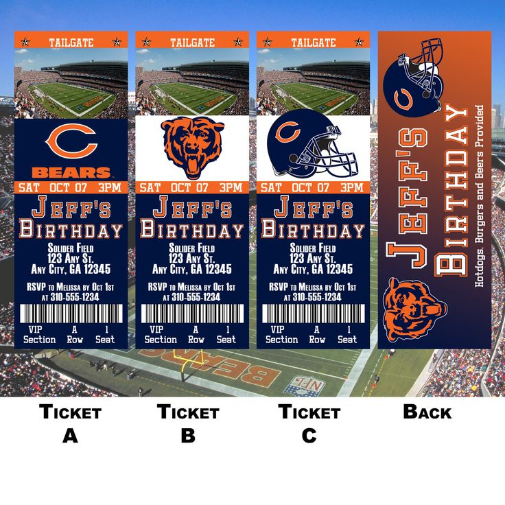 Chicago Bears Ticket Invitation by BoxPartyEvents on Etsy