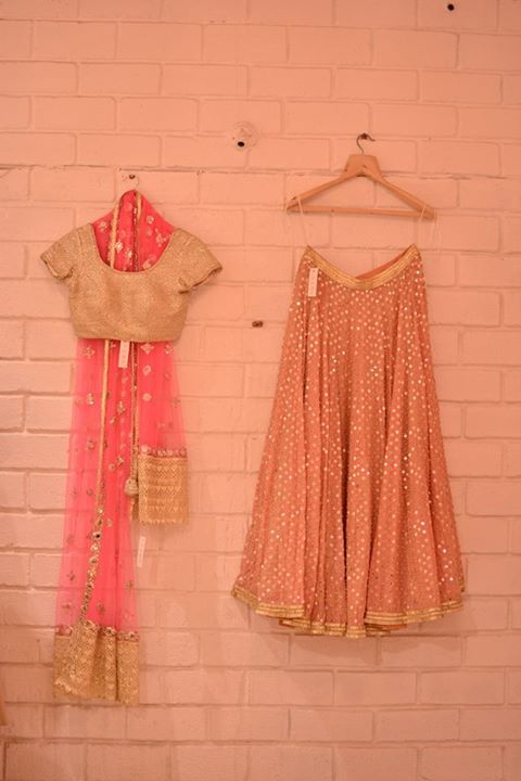 Peach Lehenga With Pink Sheer Dupatta And Gold Blouse Indian Ensembles Indian Dresses