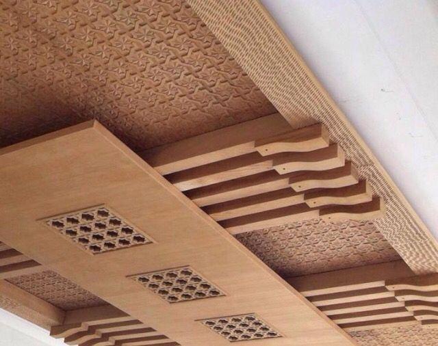 Faux plafond pour salon marocain moderne en bois | Meubles ...