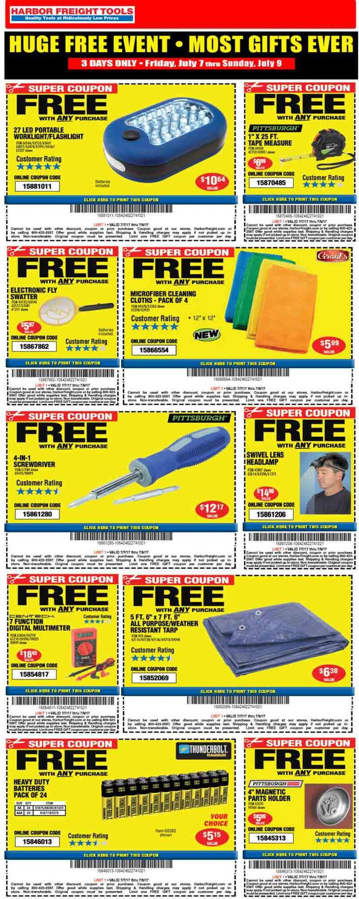 Bunch of free stuff with any purchase at Harbor Freight Tools (07/09)