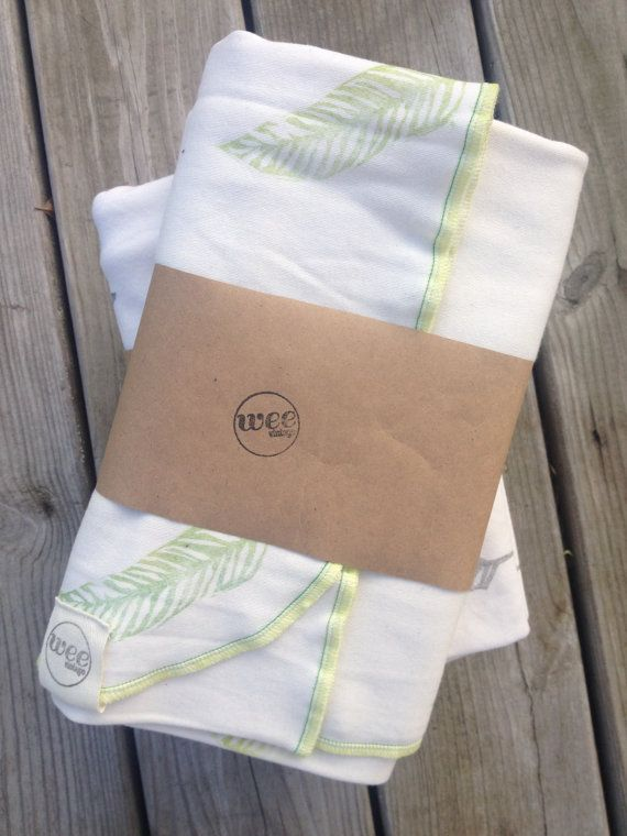 Organic Baby Blanket, Hand Stamped Baby Blanket, Unisex, Swaddle Blanket, Feather Blanket