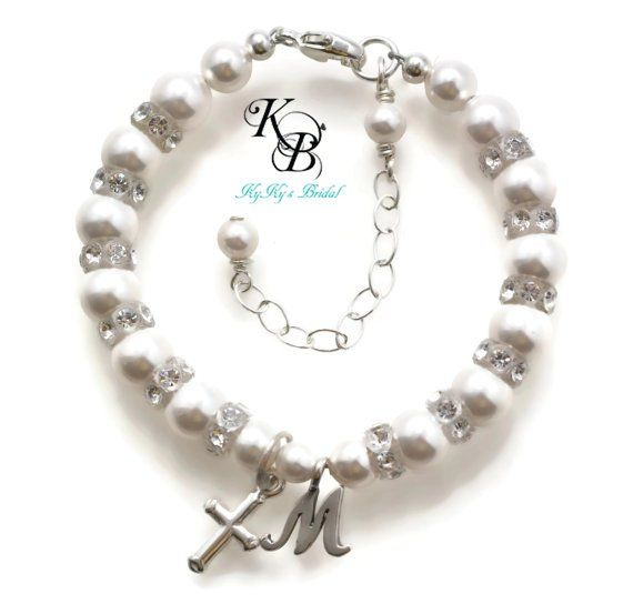 Personalized Baptism Bracelet, Baby Bracelet, Baptism Gift, Christening Bracelet, Christening Gift, First Communion Gift | KyKy's Bridal, Handmade Bridal Jewelry, Wedding Jewelry