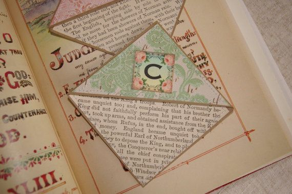 Handmade Vintage Monogram Bookmark Corners by MarthaLae on Etsy,
