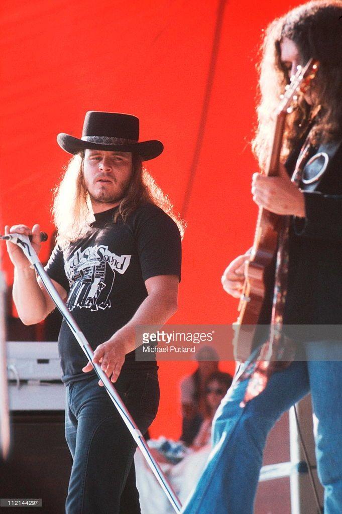 Lynyrd Skynyrd~ perform on stage at Knebworth, 21sst August 1976, L-R Ronnie Van Zant, Gary Rossington.