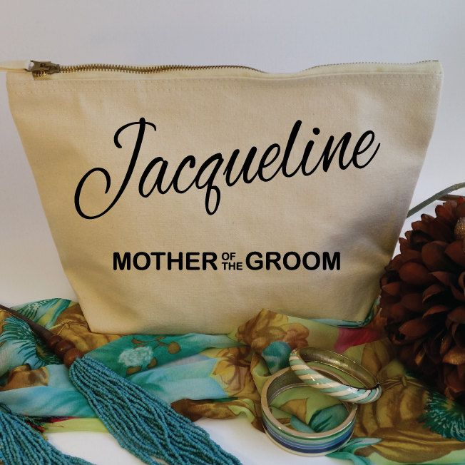 Mother Of The Groom Custom Makeup Bag with Name. Custom Mother Of The Groom Gift. Groom Mother Gift. Wedding Favor. Mother Of The Bride. by SoPinkUK on Etsy