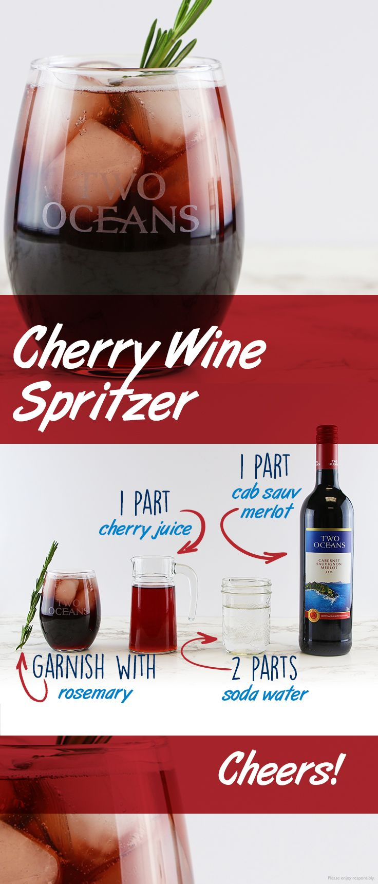 We Re Whipping Up A Batch Of Cherry Wine Spritzers For Holiday Entertaining Garnished With A Sprig Of Rosemary We Fruity Cocktails Wine Spritzer Cherry Wine