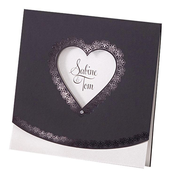 """Hochzeitseinladungen """"Eleganz"""" - sehr edel! Eleganter Premiumkarton, edle Folienprägung, schimmerndes Strasssteinchen und das beste, die Farbe des Einlegers passend zur Hochzeitsdeko auswählen! Online bestellen bei Top-Kartenlieferant in Aachen!"""