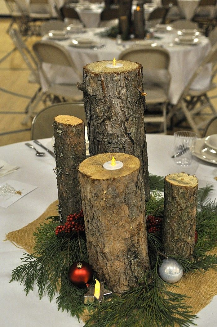 Beautiful Holiday centerpiece - made from 8, 10, 12 and 14 inch pieces of logs with holes drilled in the top to hold candles.