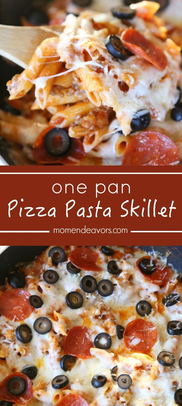 One Pan Pizza Pasta Skillet - the perfect trifecta of convenient dinners!! A meal that's ready in less than 20 minutes, one pan for easy clean up,  and a dinner that the kids will love too!
