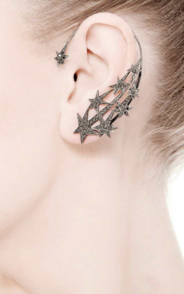 Stars Ear Cuff With Black Diamonds by Runa for Preorder on Moda Operandi