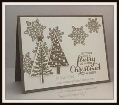 New Stampin' Up! Flurry of Wishes stamp set meets Festival of Trees.  Find all of the details on my blog: http://stampininthesand.blogspot.com/2015/08/new-flurry-of-wishes.html #stampinup, #festivaloftrees, #flurryofwishes, #cardmaking, #stampininthesand