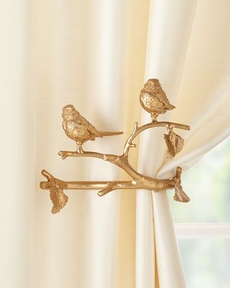Feathered Friends Curtain Holdback, Set of Two  by Janice Minor Export at Horchow.