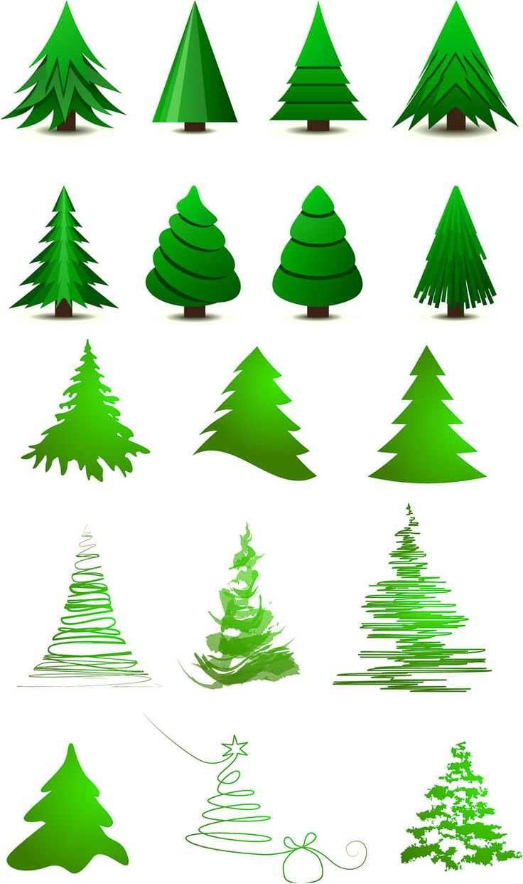 Realistic christmas tree drawing - 2 Sets Of 17 Vector Stylized Christmas Tree Layouts For Your Xmas Logo Designs Or Christmas
