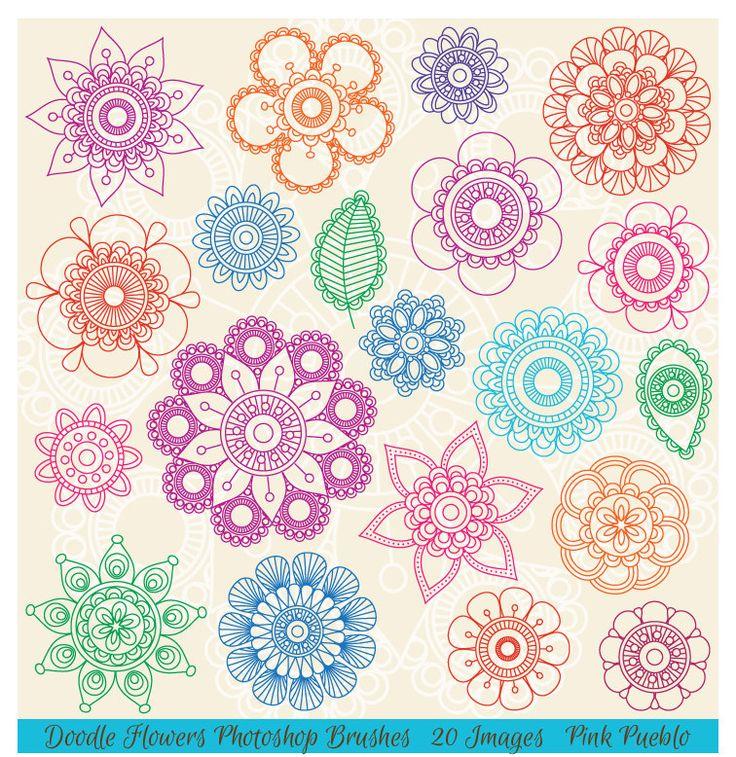 Hand Drawn Flowers Brushes, Doodle Mandala