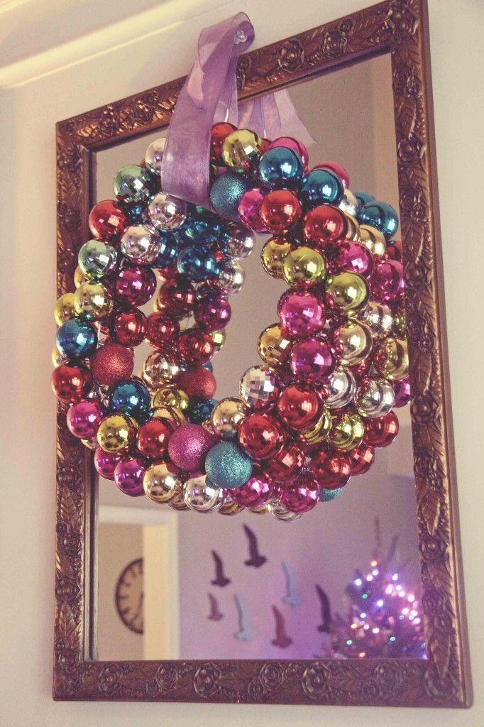 DIY Christmas Ornament Wreath - See more amazing DIY Chrsitmas Wreaths at DIYChristmasDecorations.net!