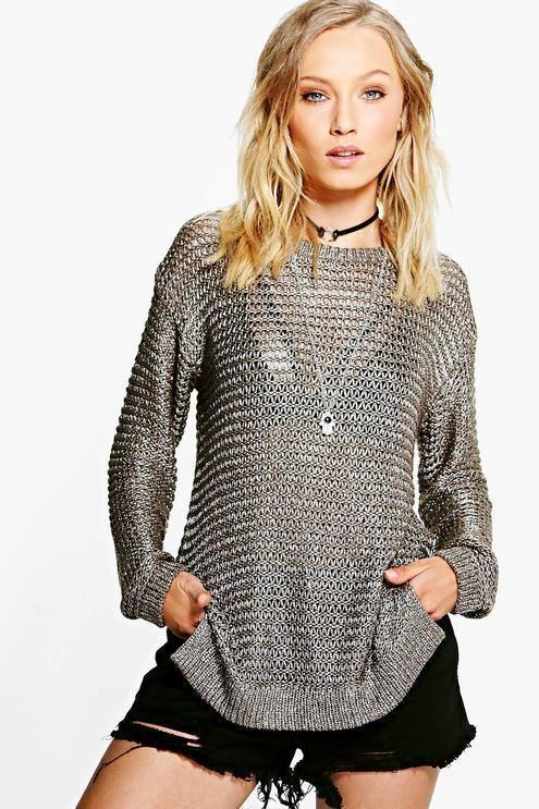 349b5665fa0 Brave Soul Abigail Metallic Loose Knit Jumper Size 4 Uk BNWT RRP 23.99  Khaki  fashion