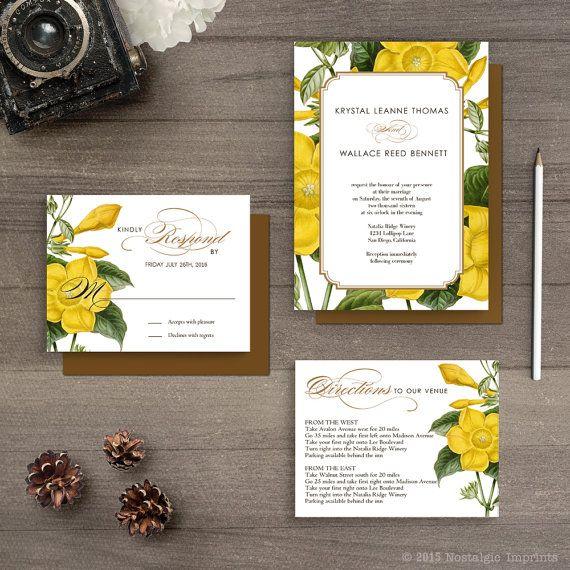 Botanical wedding invitations / Wedding guest by NostalgicImprints
