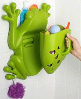 Boon frog bathroom toy organizer. It keeps toys together and lets them drain and dry when done. The top can be used to put bath soaps and products.