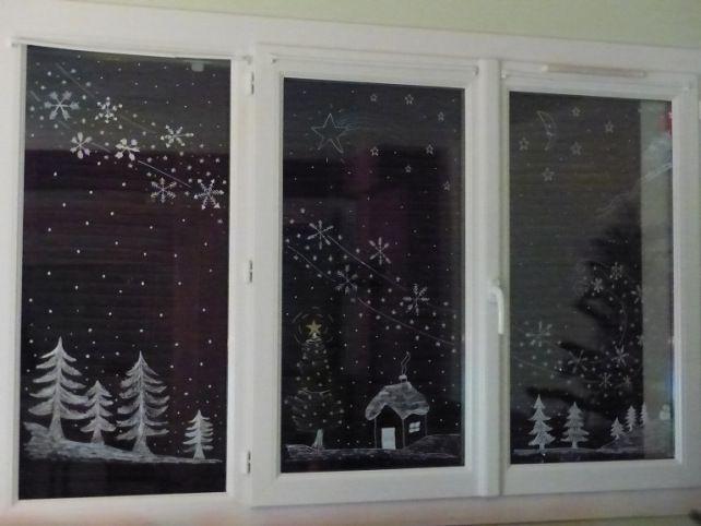 Création du 27 décembre 2015 - Fenêtre déco de Noël aux feutres Posca