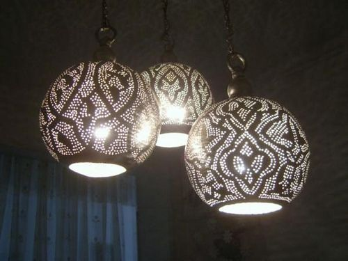 Moroccan Set 3 In 1 Silver Plated Brass Chandelier Lamp Ceiling Light Fixture