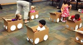 "[How cute is this?!] Toddler's ""Drive-in"" Movie! at Vernon Area Library -- kids decorated their very own car(dboard box) and then watched ""Don't Let The Pigeon Drive The Bus!"" by Mo Willems."