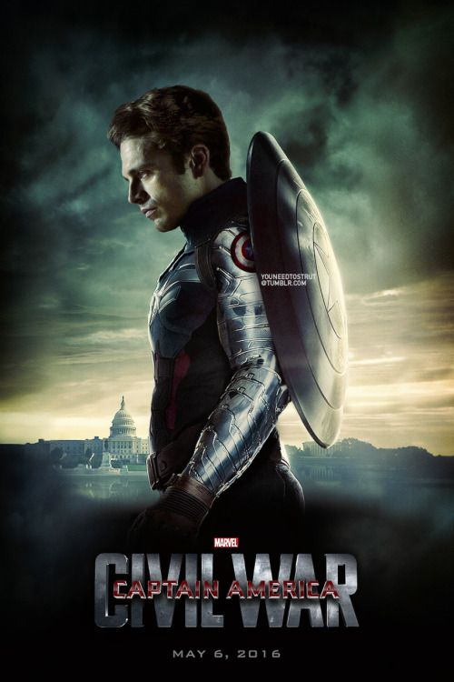 """In earlier drafts of Captain America 3, Iron Man had a minor role (then Downey happened, apparently). One year later, the cast and concept of Captain America 3 are practically unrecognizable. Starring Robert Downey Jr. The new Captain America: Civil War is based on the storyline where Iron Man and Captain America duke it out over the """"Superhero Registration Act."""" And all of this is IRRELEVANT because IT'S BUCKY AS CAPTAIN AMERICA!"""
