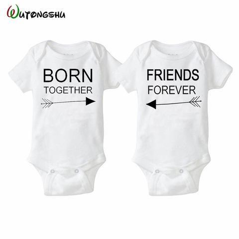 Fashion Summer White Baby Bodysuits 0 12Months Twins Boy Girl Clothes 1st Birthday Gift