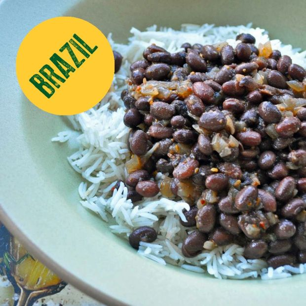 Brazilian rice-and-Beans   a-little-yumminess - pinto beans or black beans, rice, onion, garlic, bacon, chile peppers, bay leaf, tomato paste, cumin,