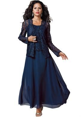 Mother-Of-The-Bride Dresses. Royal Blue and metallic silver. Lace and Chiffon Jacket Dress | Plus Size Wedding | Roamans