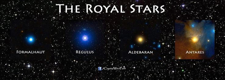 The 4 Royal Stars: Ancient Persian names were:  Aldebaran (Tascheter) - vernal equinox (Watcher of the East) Regulus (Venant) - summer solstice (Watcher of the South) Antares (Satevis) - autumnal equinox (Watcher of the West) Fomalhaut (Haftorang/Hastorang) - winter solstice (Watcher of the North)