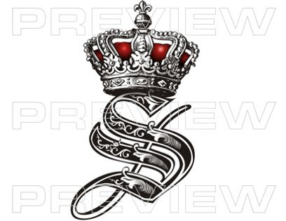 Royal Initials custom tattoo lettering design  ▒Tattoo Lettering Design▒ Professional Custom Tattoo Lettering Service | Initial Royal Crown Tattoo Design