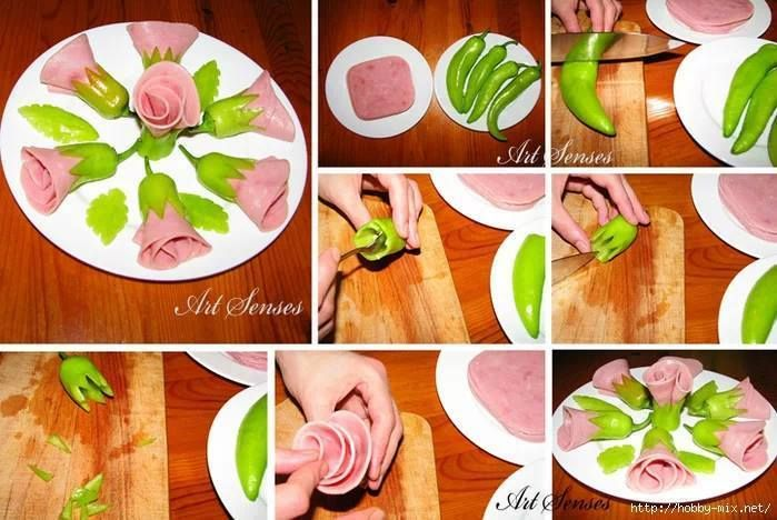 Skvělý tip na růže z papriky a šunky