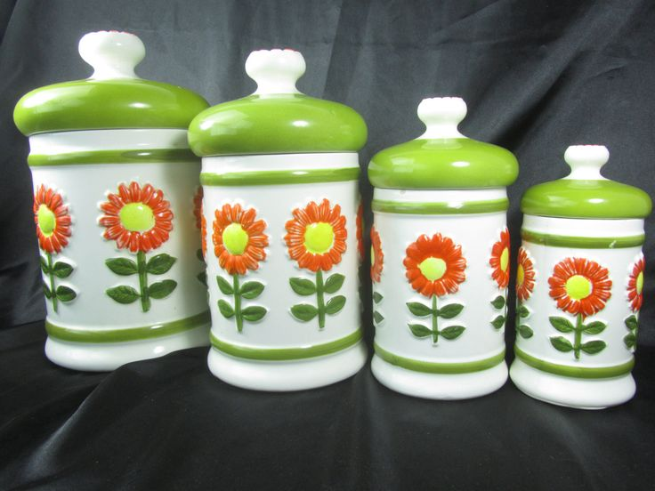 Retro Canisters, Vintage Canister Set, Ceramic Canister, Storage,farmhouse Kitchen  Modern Kitchen ,mid Century ,green,flower
