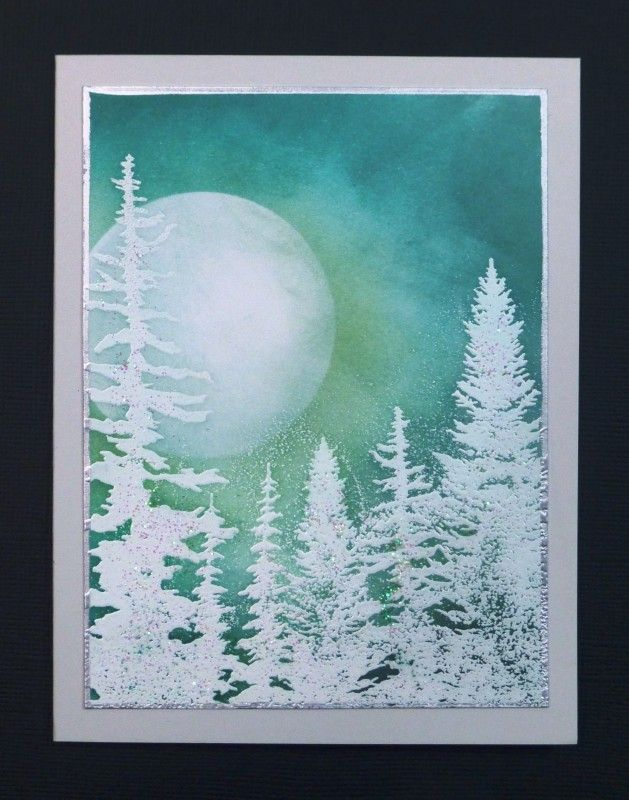 Moonlit Forest winter scene card by Sallie (hobbydujour)