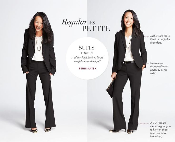 Business Casual: Are you petite? Check this Style Guide to see how suits should fit on you!
