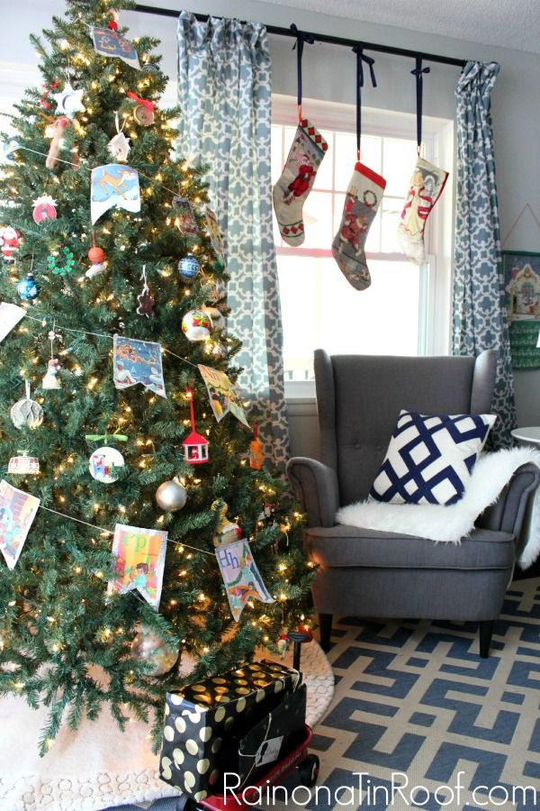 Hanging the stockings in the window was a great idea - especially when you don't have a mantel! An Eclectic Christmas Home Tour