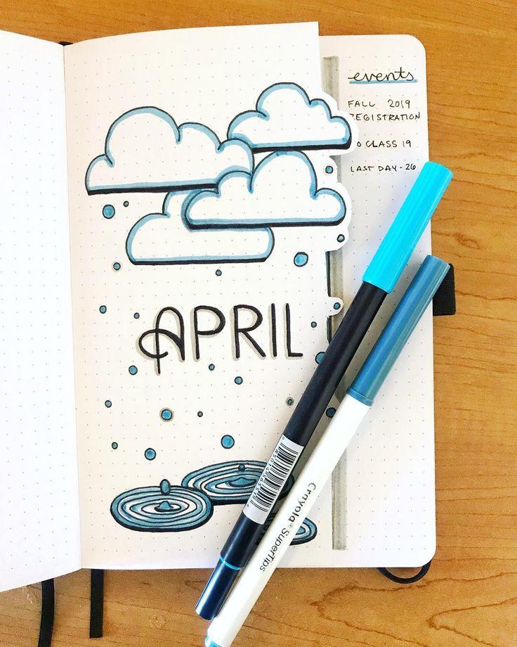 """bullet journal • kunst auf Instagram: """"es ist april ..? 🌧☔️💦 #bulletjournal #bujo #bujoideas #bujoinspo #planner"""