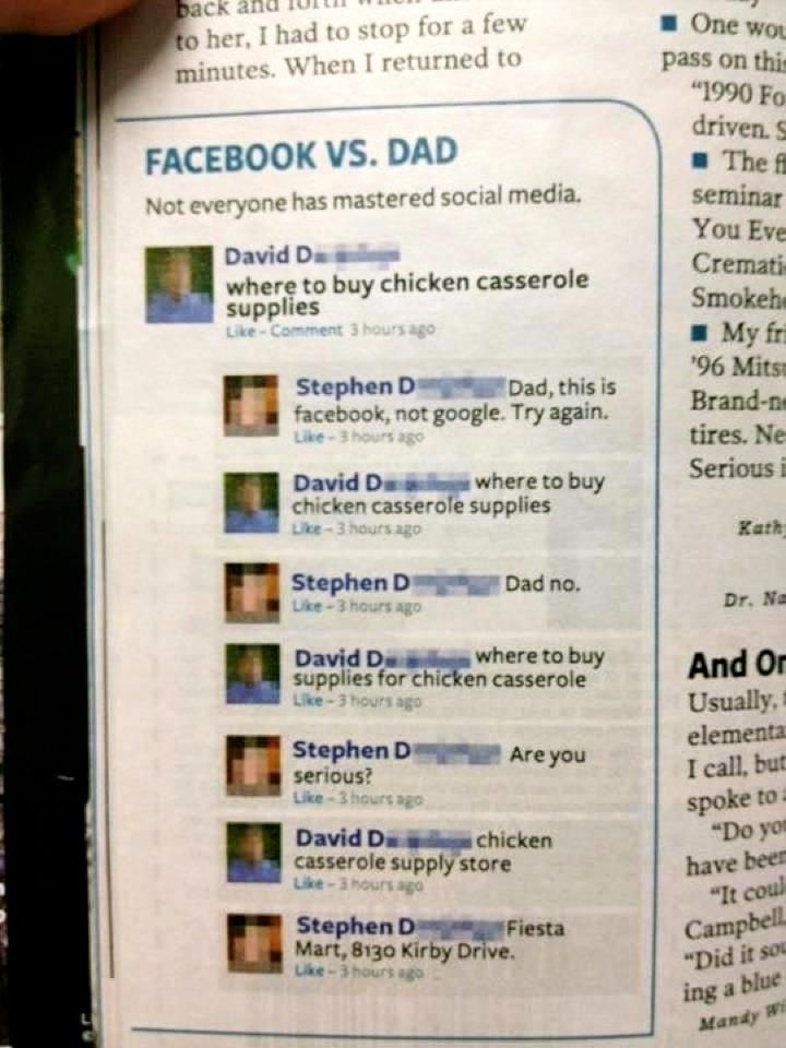 Facebook VS. Dad a great laugh every time