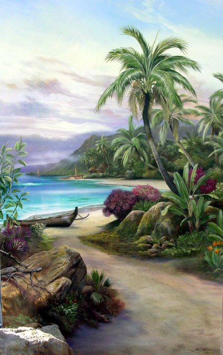 """Pathway to Paradise"" original #SurfArt painting by Paul Roberts. The artist really captures the essence of the shoreline in Hawaii in this piece."